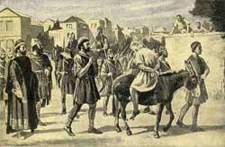 Ο εικονομάχος πατριάρχης Αναστάσιος, σφετεριστής του θρόνου του προκατόχου του εικονολάτρη αγίου Γερμανού, χωρίς τα κοσμήματά του, διαπομπεύεται καθιστός ανάποδα στο  γαϊδούρι από τον εικονομάχο αυτοκράτορα Κωνσταντίνο Ε΄ (που αργότερα το αποκατάστησε στον θρόνο)  οδηγούμενος στην εκτύφλωση, επειδή �στεψε αυτοκράτορα �ναν  εικονολάτρη Αρμ�νη, γαμπρό του Κωνσταντίνου. Η Ορθοδοξία τον τιμά ως Άγιο.