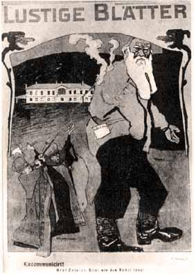 Νάνοι επίσκοποι-μάγοι, ξορκίζουν τον γίγαντα Τολστόι. Καρικατούρα του γερμανικού περιοδικού «Lustige Blatter». Τον Μάρτη του 2001 ο τρισ�γγονος του Τολστόϊ Βλαδίμηρος �κανε �κκληση άρσης του αναθ�ματος που απορρίφθηκε από τον Μόσχας.