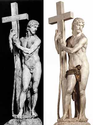 Ο «Αναστημ�νος Χριστός» της εκκλησίας Santa Maria Sopra Minerva, στη Ρώμη. Σήμερα και πολλ�ς φορ�ς στο παρελθόν τα γεννητικά όργανα είναι καλυμμ�να με ύφασμα.