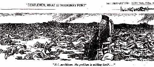 Γελοιογραφία της Daily Mail σε βάρος του προέδρου Μακαρίου, ενός συντηρητικού θεοκρατικού ηγέτη στον οποίο χαρίστηκε άνευ όρων η Αριστερά, χωρίς να τολμήσει να αρθρώσει διακριτό πολιτικό λόγο απέναντί του.