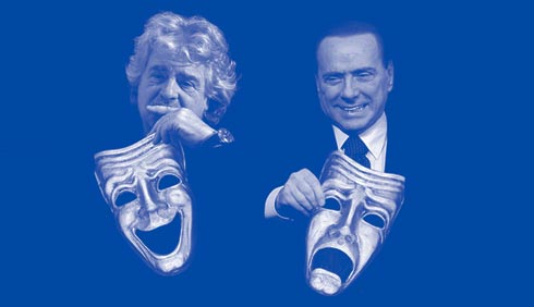Photos: Bloomberg (Grillo and Berlusconi), Getty (masks); Illustration by Bloomberg View