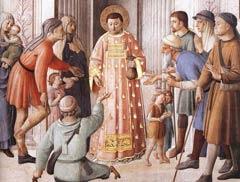 Fra Angelico, 'Ο Άγιος Λαυρέντιος (Λαυρεντιάδης;)  μοιράζει ελεημοσύνες', Cappella Niccolina, Βατικανό