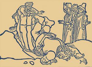 Το γκρέμισμα του Αισώπου. Ξυλογραφία (1489), από το ισπανικό «Βίος Αισώπου και μυθικές ιστορίες του»