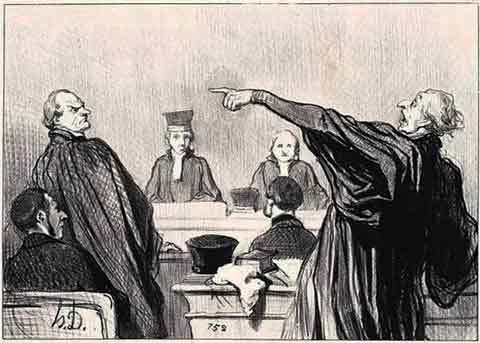 """Honore Daumier """"Gens de Justice"""" -λιθογραφία του 1845"""