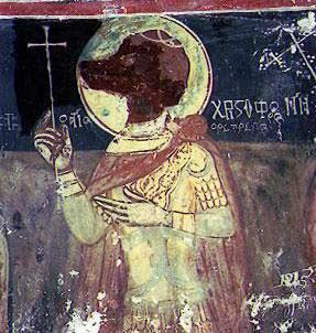 Άγιος Χριστόφορος κυνοκέφαλος, ιερός ναός Αγίων Αναργύρων στο Αντρώνι                       Ηλείας (8ος αι)
