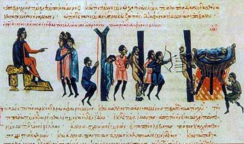Η απαράμιλλη βυζαντινή ευσέβεια. Ο ναύαρχος Nικήτας Ωορύφας στα χρόνια του Βασιλείου του Μακεδόνα, ανάμεσα στα πολλά θηριώδη βασανιστήρια που χρησιμοποιούσε, κρεμούσε τους εξωμότες με τροχαλία πάνω σε καζάνια με καυτή πίσσα και τους άφηνε, χαλαρώνοντας τις αλυσίδες, να βυθιστούν κοροϊδεύοντας πως τους βαφτίζει (Μαδρίτη, Εθν.Βιβλιοθήκη, χειρόγραφο Σκυλίτζη).