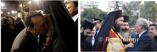 Οι κ.κ. Παππάς (πίσω του η βουλευτίνα Καφαντάρη) και Αμανατίδης του ΣΥΡΙΖΑ, διαχυτικοί με τον ευνοούμενο του κ.Ιερώνυμου, τον 38χρονο μητροπολίτη της κακόφημης επισκοπής Ν.Ιωνίας, τ. αντικανονικό βοηθό επίσκοπο, ως επικεφαλής της πολυάριθμης αντιπροσωπείας του κόμματος στην ενθρόνισή του, με μοναδικό κίνητρο την φτηνή ψηφοθηρία στα θολά νερά και την παροχή εκδούλευσης στον Αρχιεπίσκοπο.