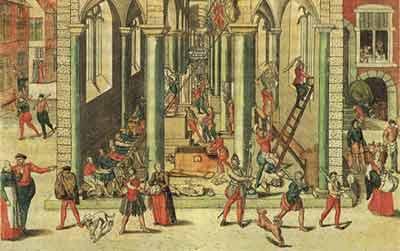 Χαλκογραφία (1588-Βρεττανικό Μουσείο) του Frans Hogenberg, όπου απεικονίζονται Καλβινιστές εικονοκλάστες που επιτίθεται στον Καθεδρικό Ναό της Παναγίας της Αμβέρσας, στις 20 Αυγούστου 1566. Ο απόστρατος Μεσσήνιος Μακεδονομάχος Αντώνιος Σαμαράς σε αυτό το χαρακτικό βλέπει μέλη του ΣΥΡΙΖΑ!