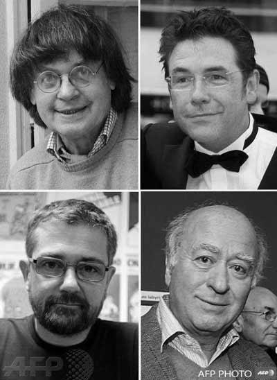 Οι δολοφονημένοι γελοιογράφοι Cabu, Charb, Tignous και Wolinski