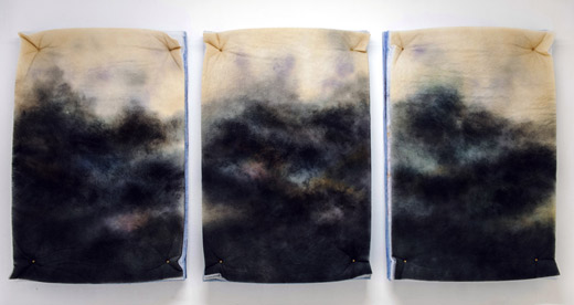 """©Corinna Gosmaro Scape 2014 , """"Scape"""", 150x100x15 cm Spray on polyester filter. Galleria Thomas Brambilla, Bergamo"""
