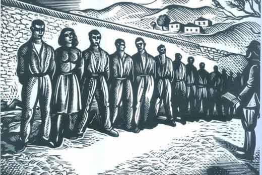 Χαρακτικό του Α. Τάσσου για την εκτέλεση των 200 κομμουνιστών