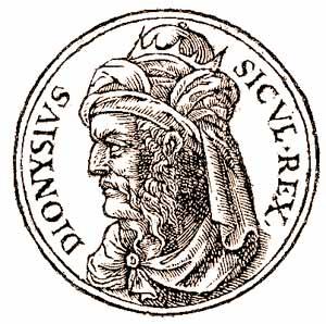 Φανταστική απεικόνιση του Διονύσιου Ι, από το εικονογραφημένο βιβλίο «Promptuarium iconum insigniorum a seculo hominum», του Guillaume Rouillé –Λυών, 1553