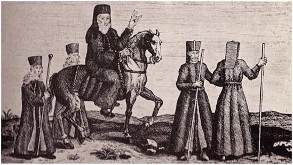 Έφιππος πατριάρχης με συνοδεία από δυο διάκους και δυο γενίτσαρους (μπροστά του)- Αθήνα, Γεννάδειος Βιβλιοθήκη